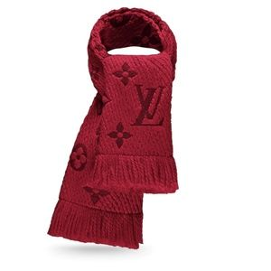 Louis Vuitton Monogram Logomania Scarf Wool Red